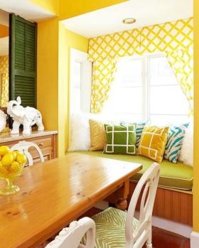 黄色时尚浪漫田园风格飘窗设计图片