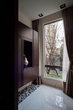 褐色中式风格书房装饰柜装修设计