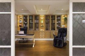 黄色欧式风格书房书柜装修效果图片