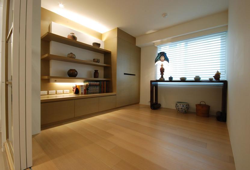 原木色新中式风格装饰柜装修效果图片