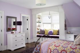 紫色浪漫粉嫩简约风格儿童房设计图