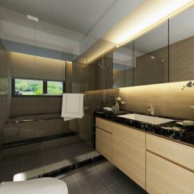 原木色简约风格卫生间浴室柜设计装潢