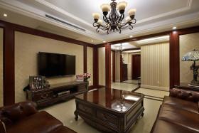 褐色中式风格客厅装修图片