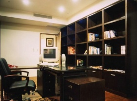 黑色新中式风格书房图片