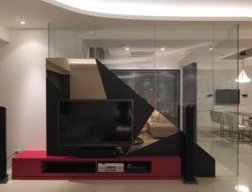 黑色现代风格客厅电视背景墙装修图片