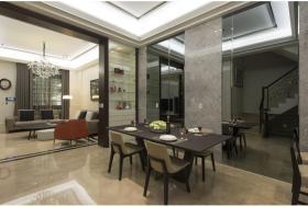 大户型灰色现代餐厅装潢设计