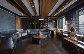 黑色美式风格客厅吊顶装饰设计图片