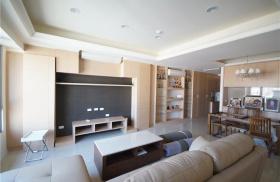 原木色简约风格客厅背景墙装潢设计