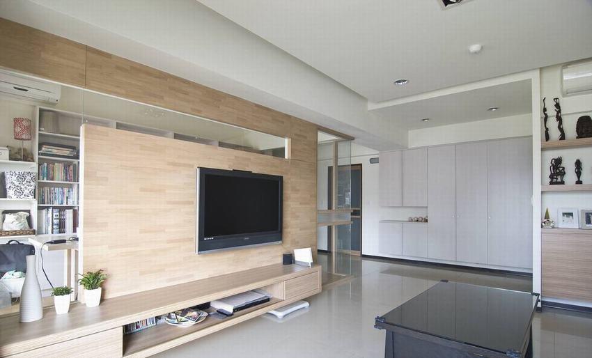 原木色北欧风格客厅背景墙效果图赏析