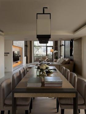 米色新中式风格餐厅吊顶吊灯效果图