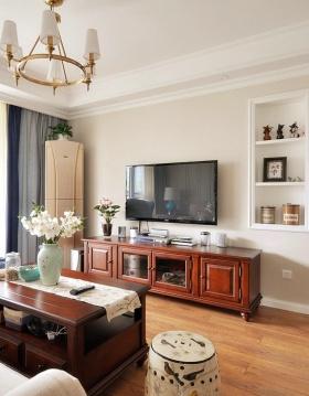 红色新中式风格客厅装修图片赏析
