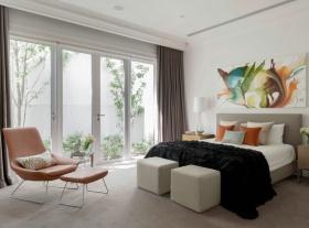 时尚混搭白色卧室窗帘装潢案例