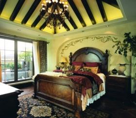 黄色新古典风格卧室吊顶美图
