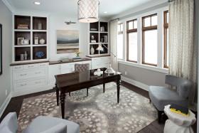 白色混搭风格书房装修设计