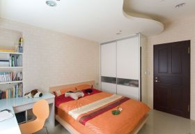 橙色现代风格儿童房装修案例