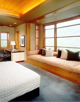 橙色新中式风格卧室飘窗装饰设计图片