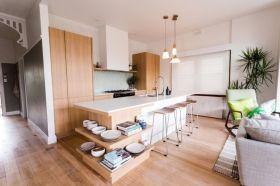 清爽简约米色原木风格开放式厨房设计赏析