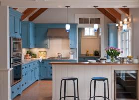 蓝色混搭风格厨房橱柜设计赏析