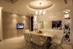 简欧风格米色客厅背景墙设计案例