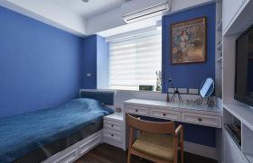现代风格蓝色浪漫温馨书房装修效果图