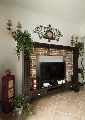 褐色田园风格客厅背景墙设计图片
