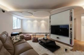 混搭风格半圆房间背景墙装修效果图