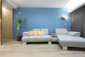 现代蓝色客厅装潢案例