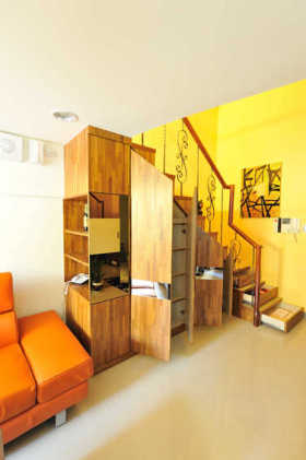 黄色简约风格实用收纳柜设计