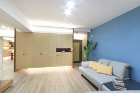 蓝色简约风格客厅沙发背景墙美图欣赏