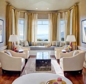 轻盈时尚现代风格客厅窗帘装修案例