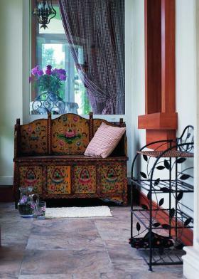 红色东南亚风格鞋柜装饰设计图片