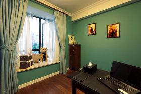 蓝色简约风格书房装修