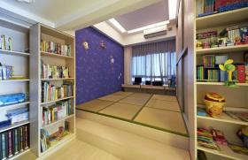 蓝色简约风格儿童房榻榻米装饰案例