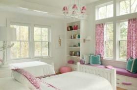 粉色简约风格儿童房飘窗效果图赏析