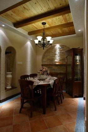 原木色东南亚风格餐厅吊顶装潢案例