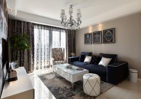 简约风格灰色客厅窗帘设计装潢