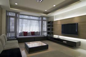 灰色现代风格客厅飘窗设计图