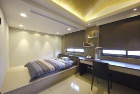 现代灰色大空间卧室装修效果图片