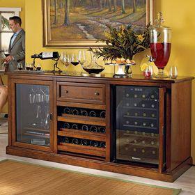 原木色美式风格酒柜装修布置