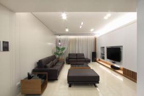 黑色现代风格客厅沙发设计图片