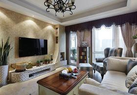 米色美式风格客厅背景墙图片欣赏