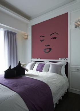 紫色简约风格卧室床头背景墙装潢案例