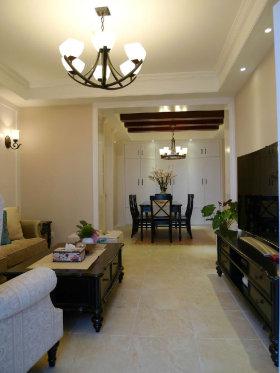 褐色美式风格客厅吊顶吊灯设计