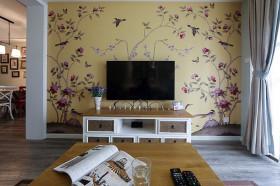 橙色田园客厅背景墙装修