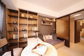橙色新中式风格书房书柜装修设计