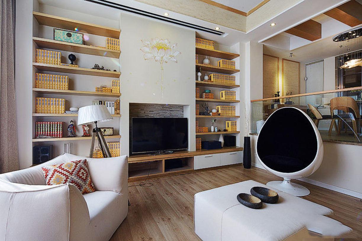 混搭风格白色客厅背景墙赏析