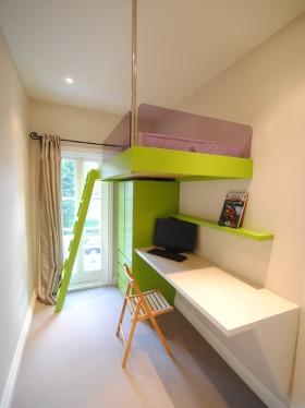 绿色宜家风格儿童房高低床效果图