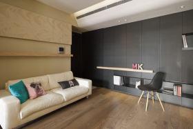 原木色现代风格客厅背景墙装修
