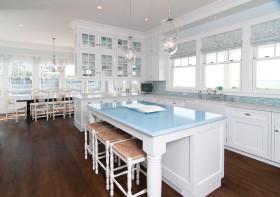 淡雅蓝色田园风格厨房设计案例