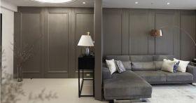 灰色复古混搭风格客厅隔断设计图片